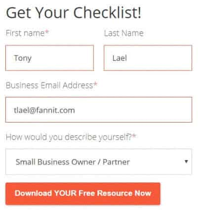 B2B email marketing best practices form example