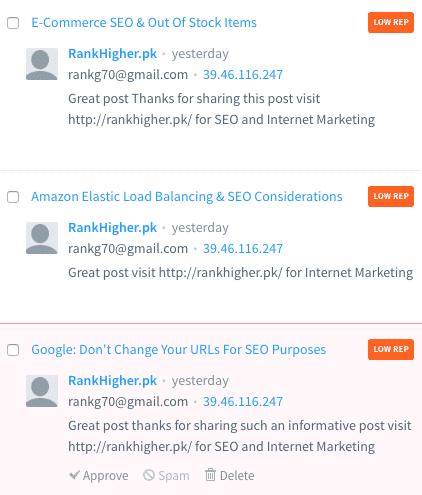 spam comments SEO
